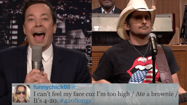 Jimmy Fallon shared viewers' funniest #420Songs tweets, and Brad Paisley sang them.
