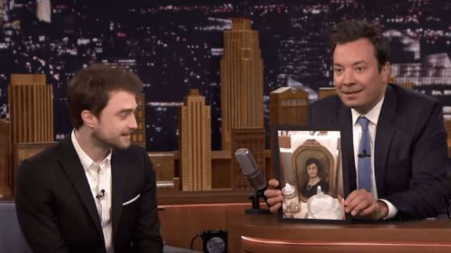 Jimmy Fallon revealed Danielle Radcliffe's secret identity as a time traveling old lady.