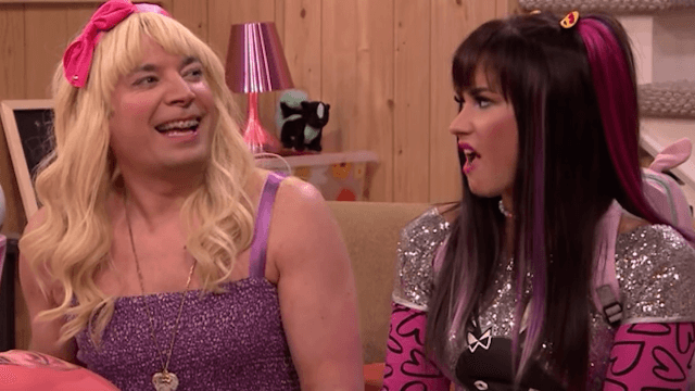 'Teen' Jimmy Fallon and Demi Lovato don fake braces, pigtails, and make out with pillows. It's weird.