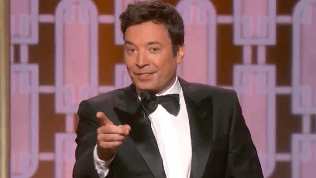 Jimmy Fallon has a Mariah Carey moment when technical difficulties immediately hit his Golden Globes monologue.