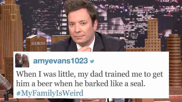 Jimmy Fallon shares the funniest #MyFamilyIsWeird tweets that will make yours seem normal.