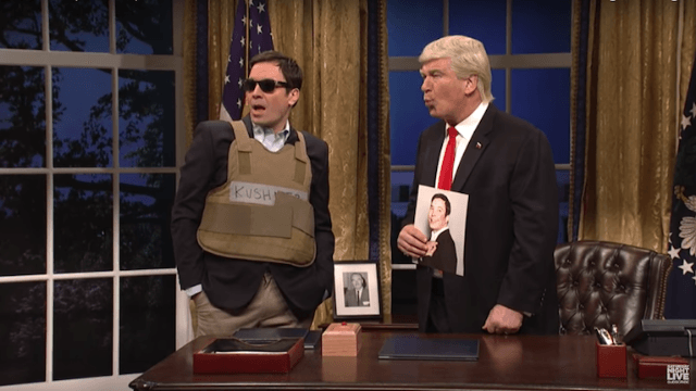 Jimmy Fallon returns to 'SNL' as Jared Kushner in his J. Crew war zone outfit.