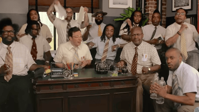 Jimmy Fallon, Migos, and the Roots played 'Bad and Boujee' on office supplies.