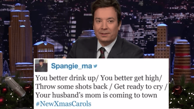 Jimmy Fallon reads #NewChristmasCarols that will make you Ho Ho Ho.