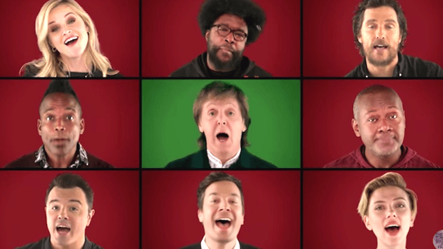 Paul McCartney joined Jimmy Fallon and a bunch of famous friends to make an a cappella version of 'Wonderful Christmastime.'
