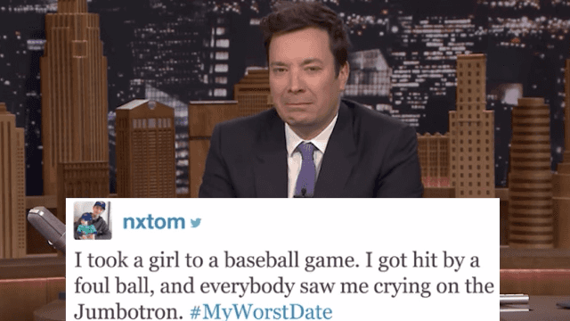 Jimmy Fallon shared Twitter's most uncomfortable #MyWorstDate stories to make you glad you're single.