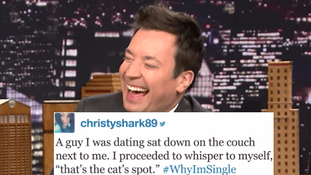 Jimmy Fallon reading #WhyImSingle hashtags will make you feel less alone.