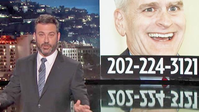 Jimmy Kimmel slams lying senator for using his name to pass atrocious health care bill.