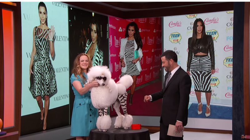 Watch Kim Pawdashian and others dogs in costumes more elaborate than yours parade on 'Kimmel.'