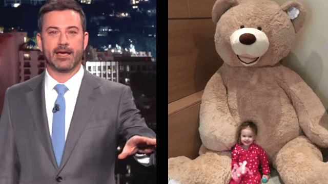 Jimmy Kimmel gets cuddly revenge on his brother who sent his daughter an 8-foot teddy bear.