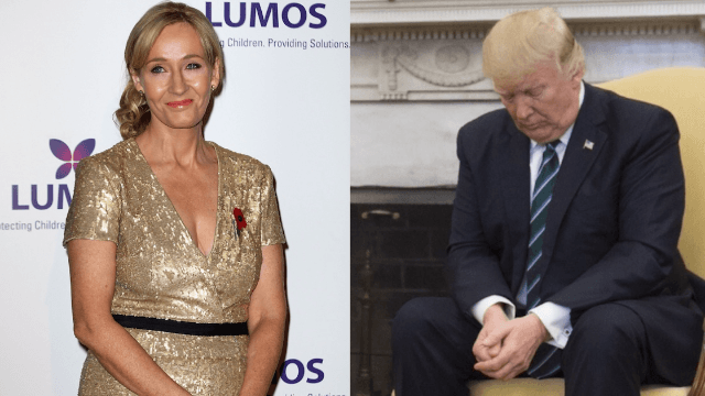 J.K. Rowling burns Trump with perfect caption for his awkward handshake moment.