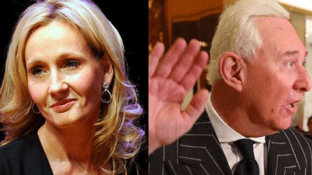 JK Rowling aims her latest tweet missile at sexist Trump advisor Roger Stone.