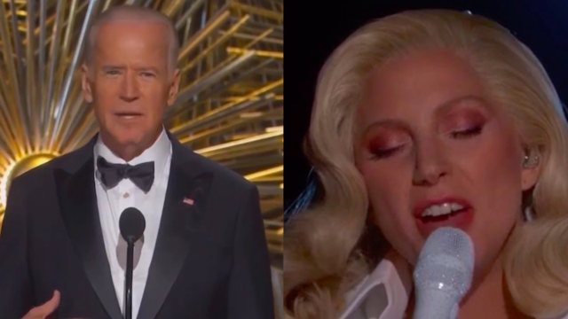 Joe Biden and Lady Gaga teamed up at the Oscars to raise awareness of sexual assault on campus.