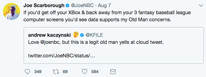 Joe Scarborough responds after Twitter ripped him apart for saying millennials need more war.