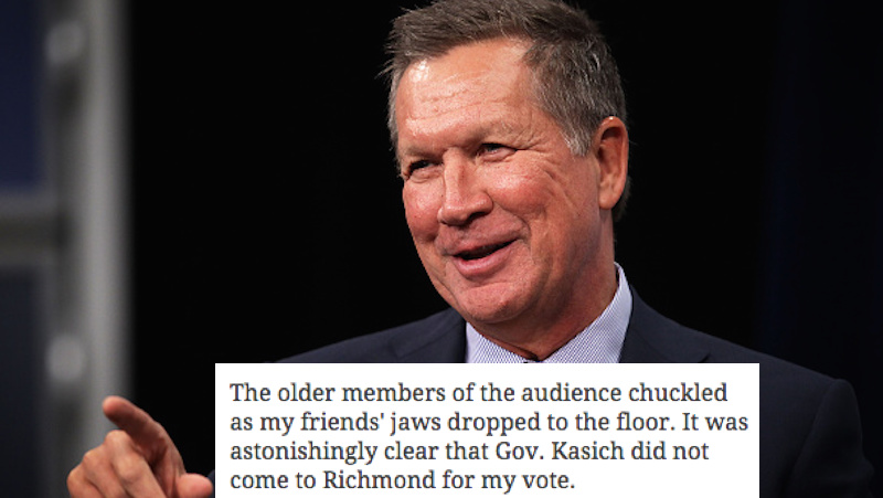 John Kasich dismissed a young female voter with a Taylor Swift joke, now they got bad blood.