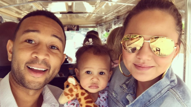 Chrissy Teigen has already taught her 1-year-old daughter to roast her father.