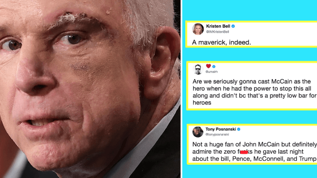 John McCain voted 'no' on healthcare after voting 'yes' three days ago. Twitter's emotional.