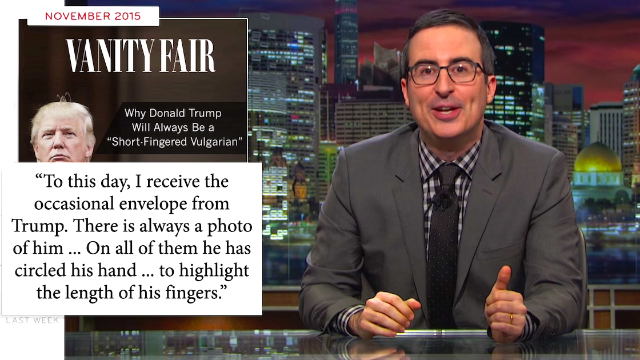 John Oliver finally takes on Trump, even though saying his name aloud gives Trump a 'shattering orgasm.'