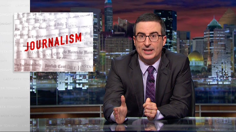 John Oliver explains why you should worry about newspapers closing even if you've never touched one.