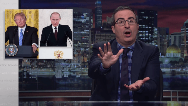 John Oliver enlists a group of techno dancers to explain the horrors of Putin to Trump.