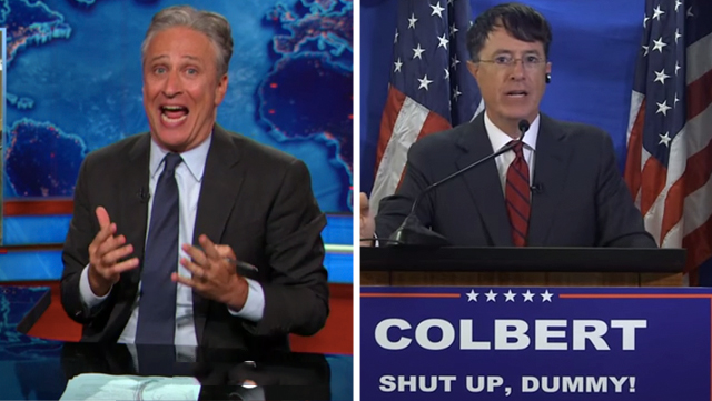 Jon Stewart and Stephen Colbert go nuts over Donald Trump's presidential announcement.