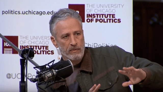 Jon Stewart emerged from his bunker to rant against 'unrepentant a**hole' Donald Trump.