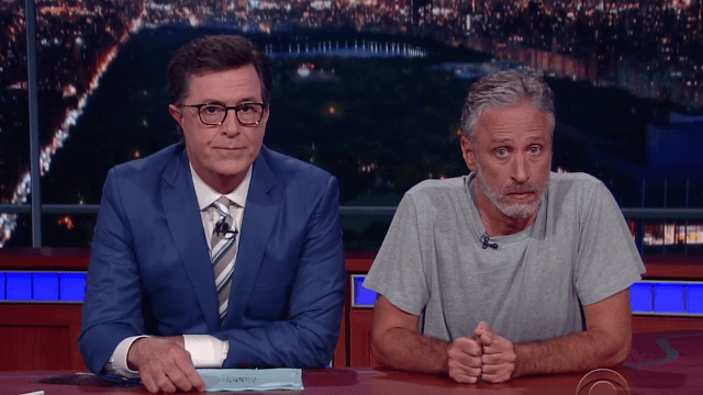 Jon Stewart took over the 'Late Show' desk for one night to do a year's worth of roasting.