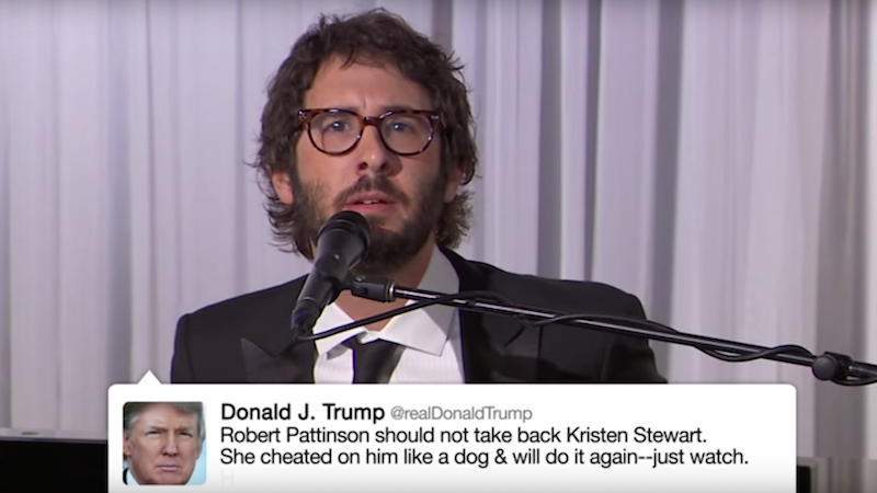 The only safe way to experience Donald Trump's tweets is listening to Josh Groban sing them.