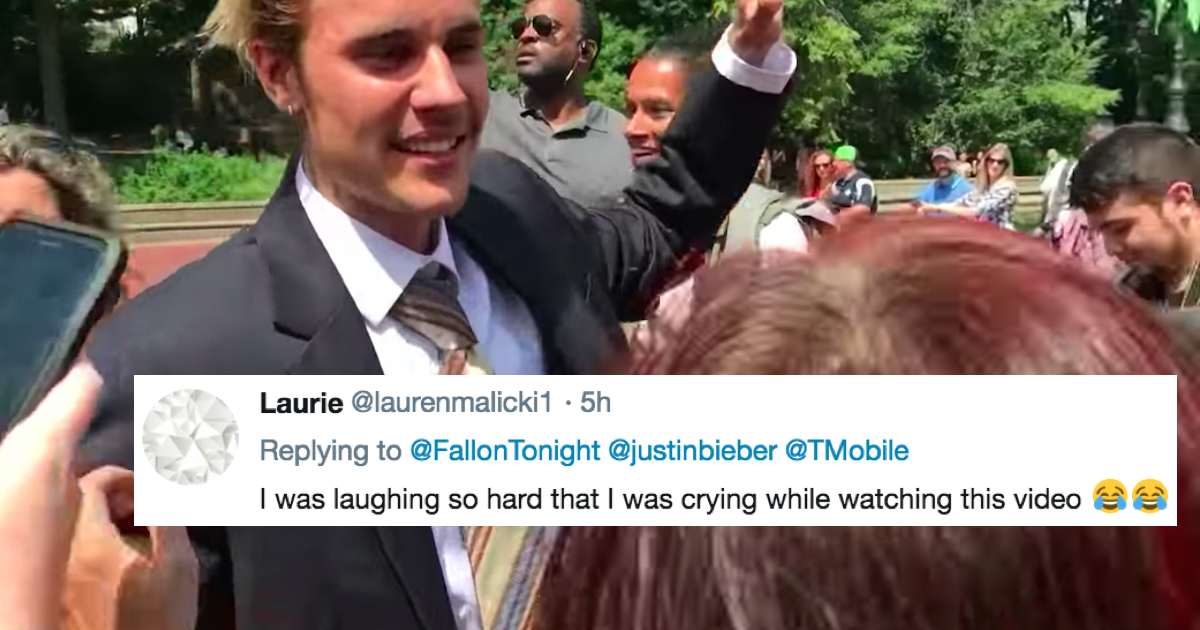 Justin Bieber surprised fans by dancing around Central Park in disguise and he hasn't looked this happy in months.