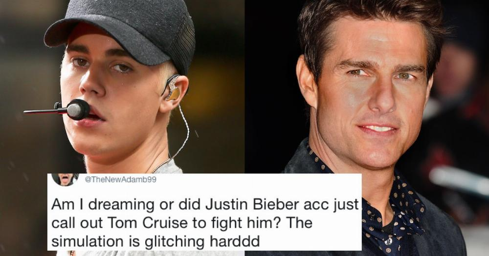 Justin Bieber publicly challenged Tom Cruise to a fight ...