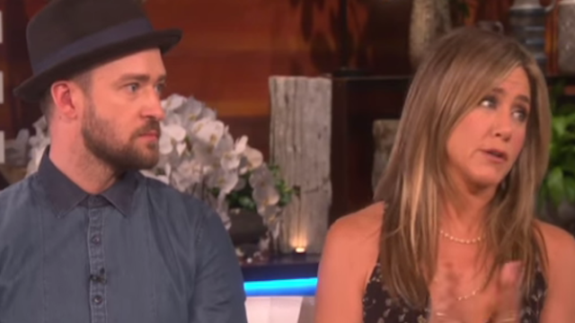 Justin Timberlake and Jennifer Aniston surprised Ellen with a gift that brought her to tears.