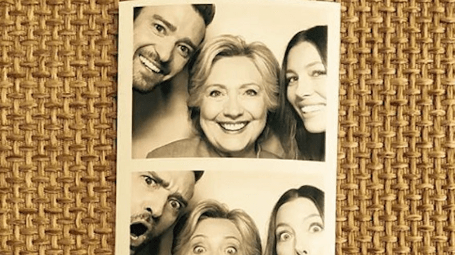 Justin Timberlake and Jessica Biel shared a photobooth with one Hillary Clinton.