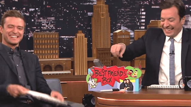 Watch five straight minutes of giggling as Justin Timberlake joins Jimmy Fallon on 'The Tonight Show.'