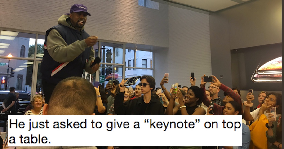 Kanye gives 'keynote speech' at Apple Store after meeting with Trump, and confuses the hell out of everyone.
