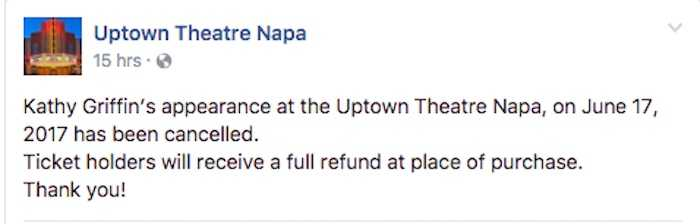 All venues on Kathy Griffin's comedy tour have now cancelled her show.