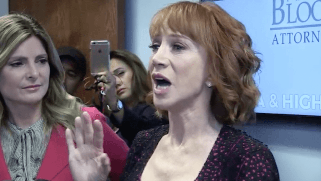 Kathy Griffin claims she's being 'bullied' by the Trump family in emotional press conference.