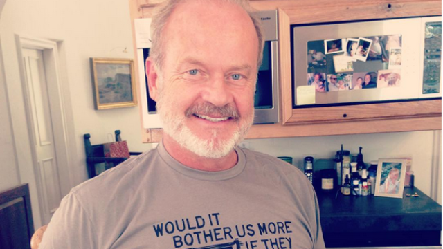 Kelsey Grammer somehow managed to wear a t-shirt that's both pro-gun and anti-abortion.