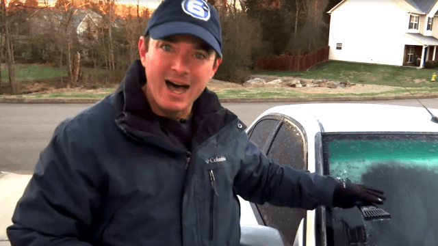 Weatherman goes viral with awesome tip to instantly defrost your windshield with booze.