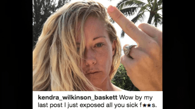 Kendra Wilkinson lashes out at 'sick f**ks' after posting shirtless photo of her 2-year-old.