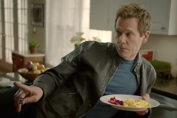 Kevin Bacon fulfills his destiny, becomes a spokesman for the American Egg Board's cheesy ads.