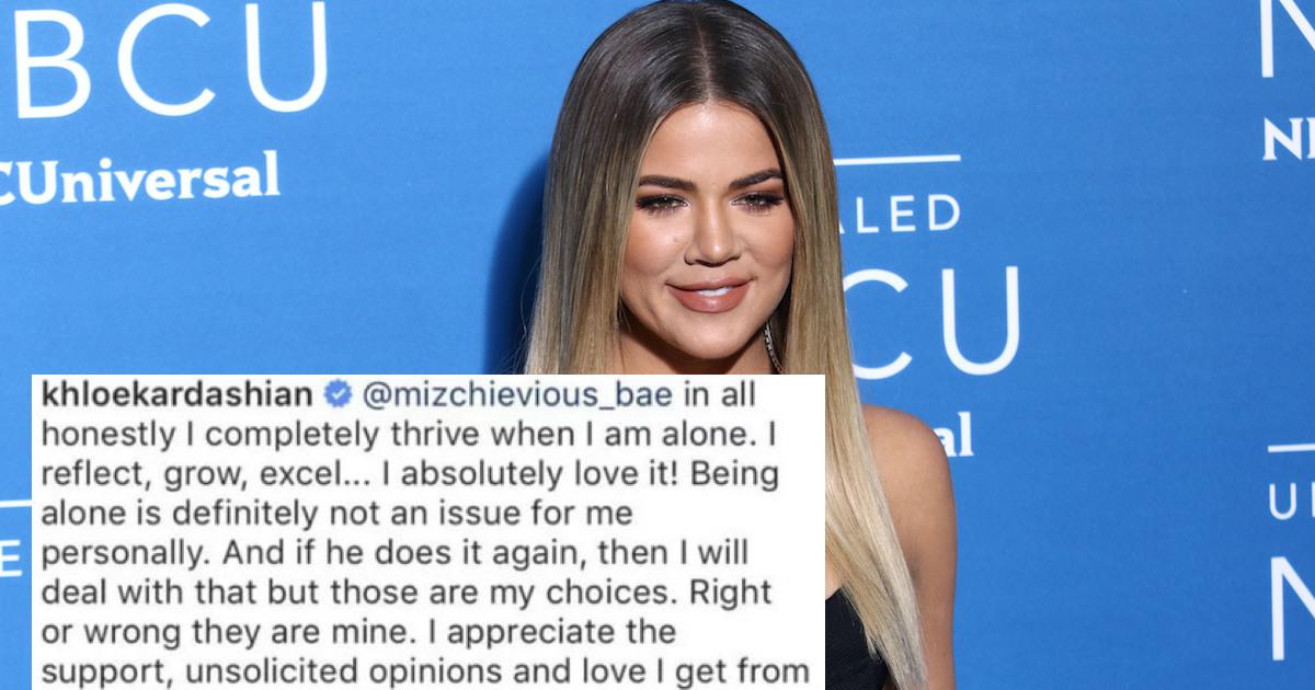 a8fe93abdbbc Khloe Kardashian shut down a fan who claimed Tristan s cheating was  karma.