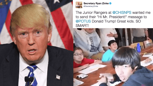 Is this kid mouthing 'F**k You' to Donald Trump in a video from Interior Secretary?