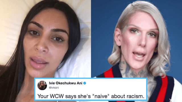 Kim Kardashian shares emotional apology for defending 'racist' makeup artist Jeffree Star.