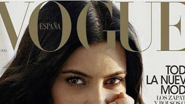 Breaking no-makeup news: Kim Kardashian bravely shares 'Vogue' cover.