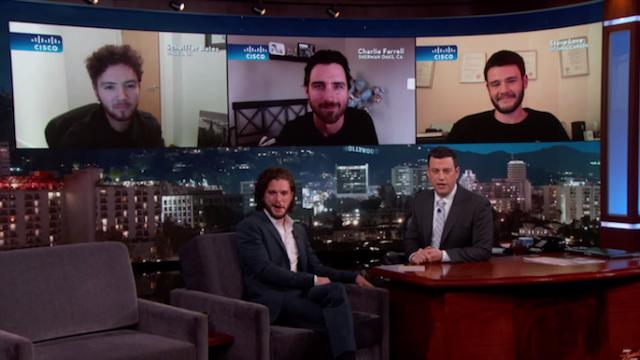 Kit Harington looks really uncomfortable watching amateur Jon Snow impressions.