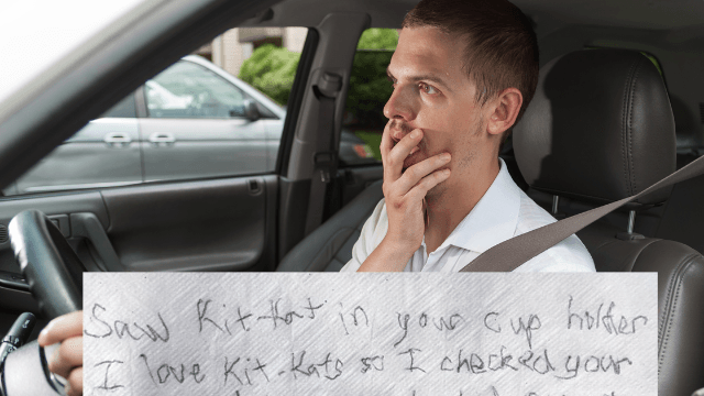 Guy leaves his Kit Kat in an unlocked car, comes back to this hilarious apology note.