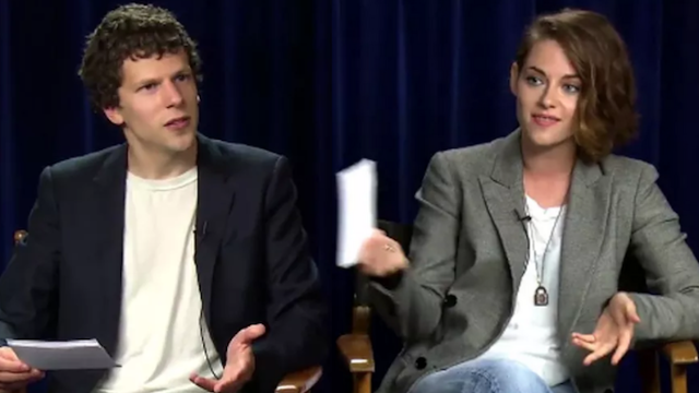 Kristen Stewart asks Jesse Eisenberg typical sexist interview questions for a movie I've never heard of.