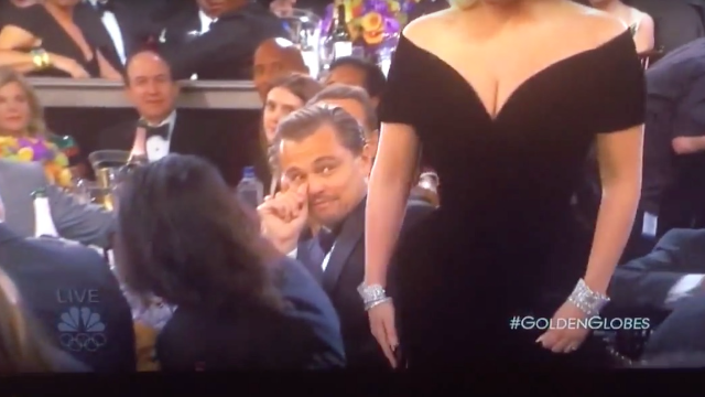 Leo DiCaprio glared at Lady Gaga as she passed him at the Golden Globes, may win Oscar for bitchface.