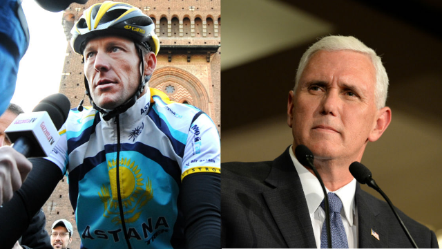 Lance Armstrong bragged about passing Mike Pence on a bike trail, so people brought up his 'doping.'