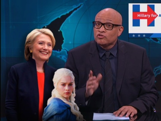 Larry Wilmore proves Hillary Clinton is the Khaleesi, and her dragon is a naughty puppy.
